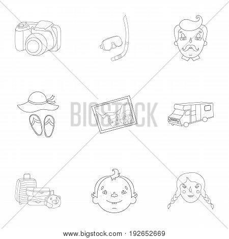 Family, family traditions, recreation. Family life.Family holiday icon in set collection on outline style vector symbol stock web illustration.