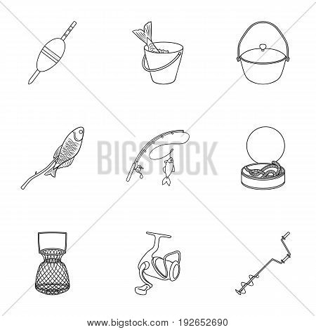 Summer and winter fishing, outdoor recreation, fishing, fish.Fishing icon in set collection on outline style vector symbol stock web illustration.