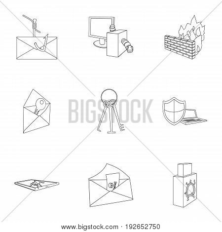 A selection of icons about protection and breaking. Modern technology of protection against breaking. Hackers and hacking icon in set collection on outline style vector symbol stock web illustration.