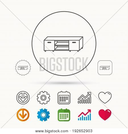 TV table stand icon. Television furniture sign. Calendar, Graph chart and Cogwheel signs. Download and Heart love linear web icons. Vector