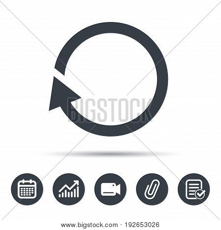 Update icon. Refresh or repeat symbol. Calendar, chart and checklist signs. Video camera and attach clip web icons. Vector