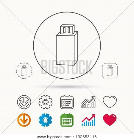 USB drive icon. Flash stick sign. Mobile data storage symbol. Calendar, Graph chart and Cogwheel signs. Download and Heart love linear web icons. Vector
