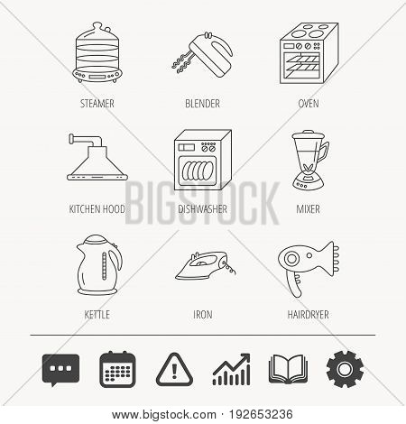 Dishwasher, kettle and mixer icons. Oven, steamer and iron linear signs. Hair dryer, blender and kitchen hood icons. Education book, Graph chart and Chat signs. Vector