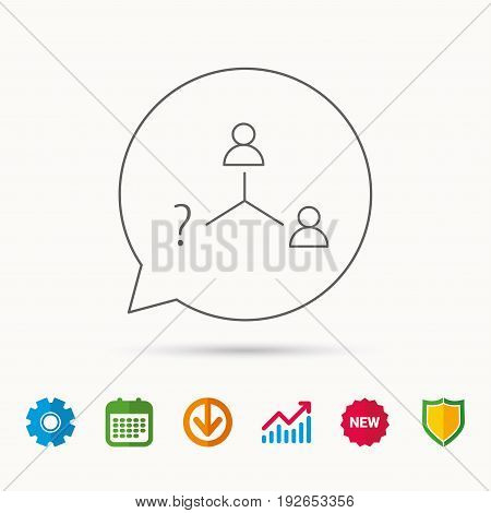 Vacancy or hire job icon. Teamwork sign. Question mark symbol. Calendar, Graph chart and Cogwheel signs. Download and Shield web icons. Vector
