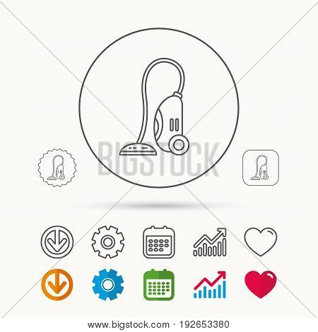 Vacuum cleaner icon. Housework device sign. Calendar, Graph chart and Cogwheel signs. Download and Heart love linear web icons. Vector