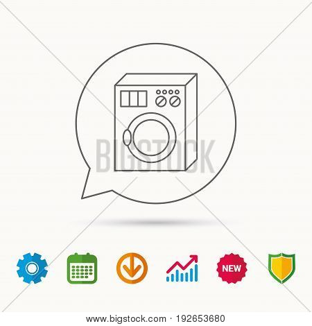 Washing machine icon. Washer sign. Calendar, Graph chart and Cogwheel signs. Download and Shield web icons. Vector