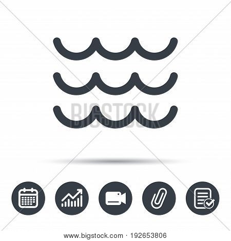 Wave icon. Water stream symbol. Calendar, chart and checklist signs. Video camera and attach clip web icons. Vector