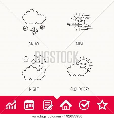 Weather, mist and snow icons. Moon night, clouds linear signs. Edit document, Calendar and Graph chart signs. Star, Check and House web icons. Vector