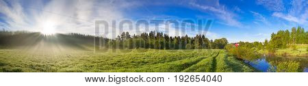beautiful rural landscape with sunrisea meadow and river panorama. panoramic summer landscape view.