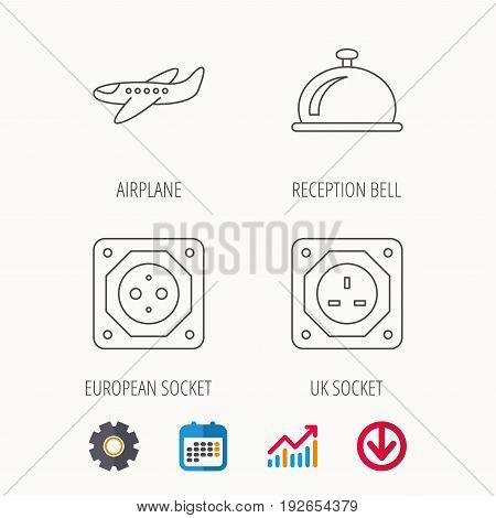 Air-plane, european socket and reception bell icons. UK socket linear sign. Calendar, Graph chart and Cogwheel signs. Download colored web icon. Vector