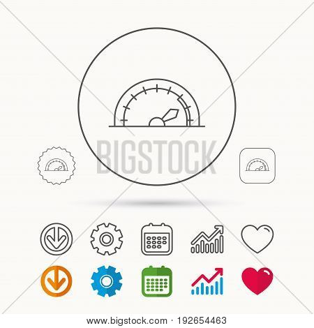 Speedometer icon. Speed tachometer with arrow sign. Calendar, Graph chart and Cogwheel signs. Download and Heart love linear web icons. Vector