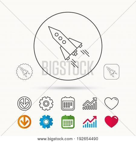 Startup business icon. Rocket sign. Spaceship shuttle symbol. Calendar, Graph chart and Cogwheel signs. Download and Heart love linear web icons. Vector