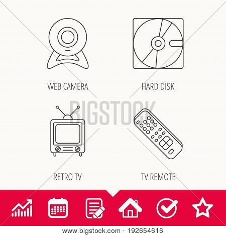 Web camera, retro TV and hard disk icons. TV remote linear sign. Edit document, Calendar and Graph chart signs. Star, Check and House web icons. Vector