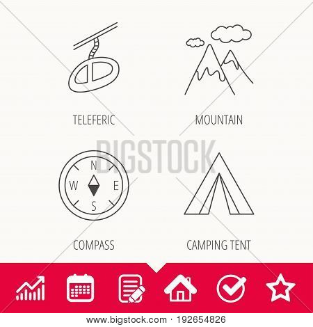 Mountain and teleferic icons. Compass linear sign. Edit document, Calendar and Graph chart signs. Star, Check and House web icons. Vector