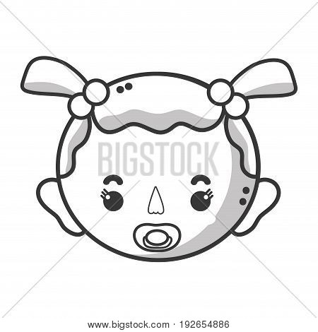line baby girl head with pacifier and hairstyle vector illustration