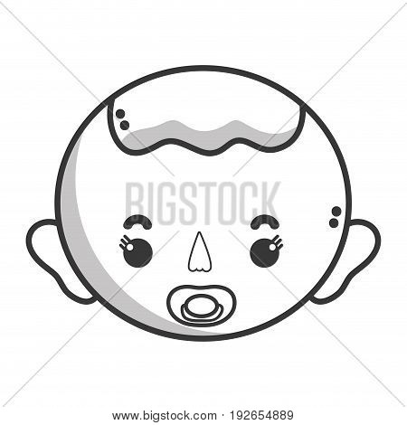 line baby boy head with pacifier and hairstyle vector illustration
