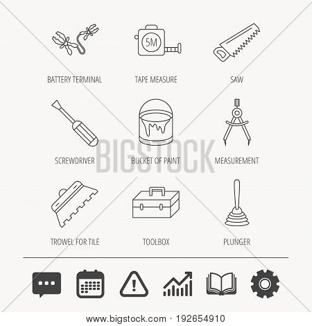 Screwdriver, plunger and repair toolbox icons. Trowel for tile, bucket of paint linear signs. Measurement, battery terminal icons. Education book, Graph chart and Chat signs. Vector