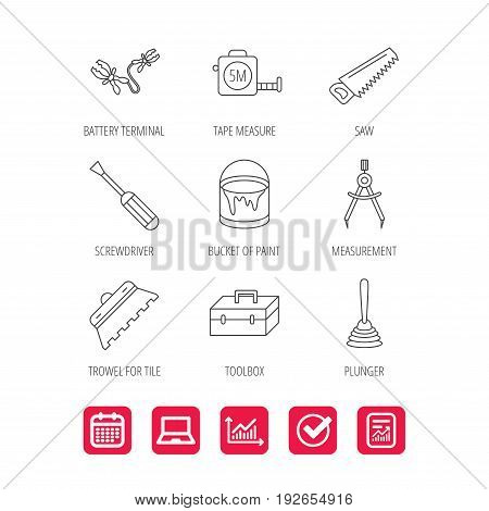 Screwdriver, plunger and repair toolbox icons. Trowel for tile, bucket of paint linear signs. Measurement, battery terminal icons. Report document, Graph chart and Calendar signs. Vector