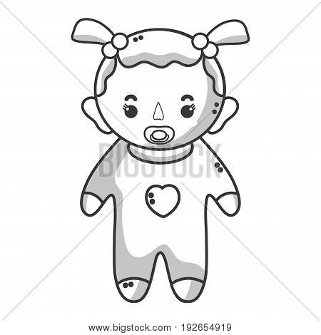 line baby girl with pacifier and hairstyle vector illustration
