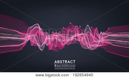 Abstract shining wave background. Electric wires. Frequency wave. Vector illustration.