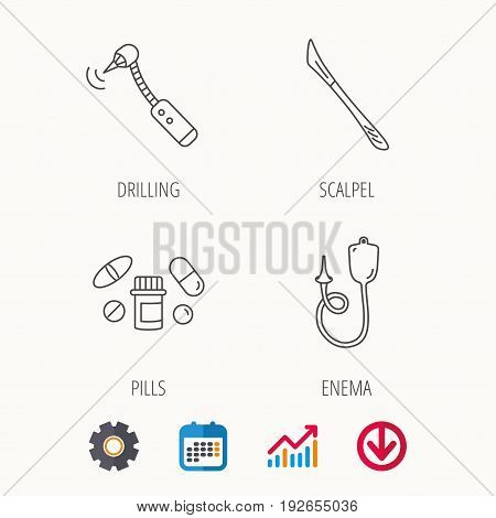 Scalpel, pills and drilling tool icons. Enema linear sign. Calendar, Graph chart and Cogwheel signs. Download colored web icon. Vector