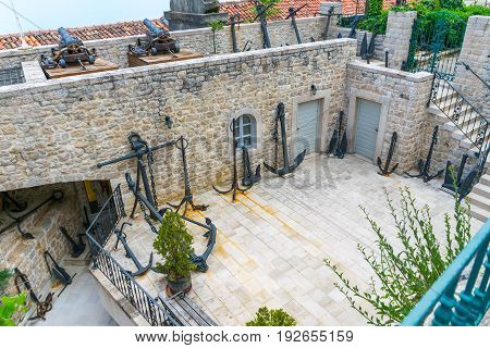 Unusual Museum Of Anchors In Herceg Novi. Montenegro.