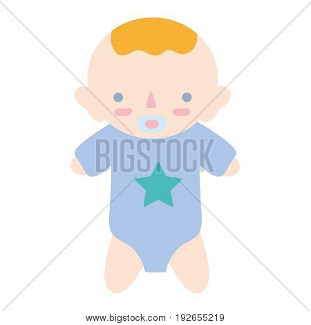 baby boy with pacifier and hairstyle vector illustration