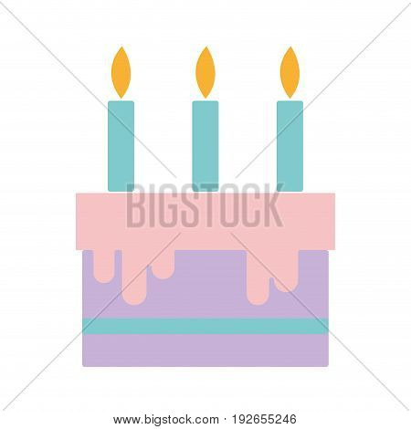 tasty cake with candle to party celebration vector illustration
