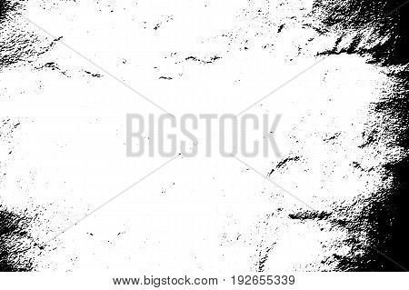 Aged worn vector texture. Black grit on transparent background. Old concrete wall. Weathered asphalt surface. Monochrome vintage overlay. Aged scratched stone surface. Rough concrete texture trace