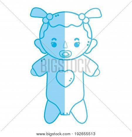 silhouette baby girl with pacifier and hairstyle vector illustration