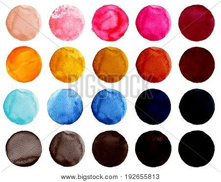 Set of colorful watercolor hand painted circle isolated on white. Watercolor Illustration for artistic design. Round stains blobs of blue red pink brown black colors