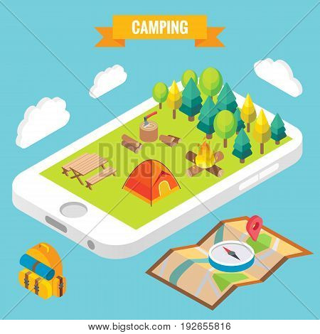 Camping in a park objects on mobile phone screen. Vector illustration in flat 3d style. Outdoor camp activity in a park. Stay online everywhere concept illustration.