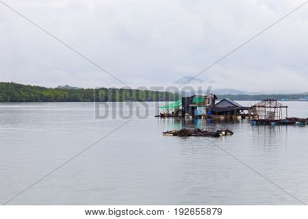 Fisherman's house in sea phang nga Thailand.