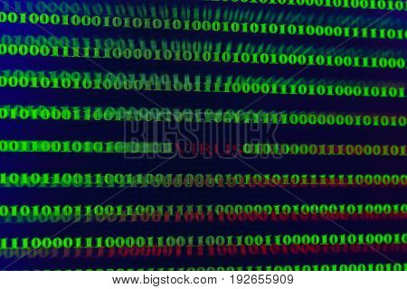 Virus in computer code on black background