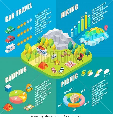 Travel infographic in vector isometric style. Camping outdoor activity. Flat 3d isometric design. Family vacation and hiking. Camp in forest.