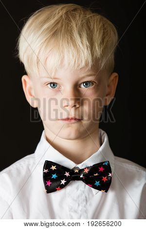 Handsome Little Blond Boy In A Smart Bow Tie
