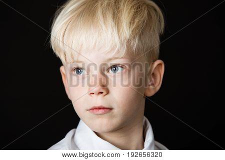 Pensive Handsome Little Blond Boy