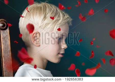 Young Boy With Falling Red Rose Petals