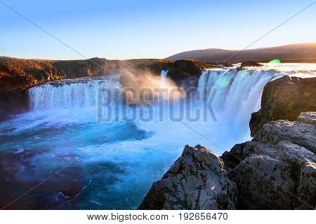 Sunlight on Godafoss waterfall in Northern Iceland