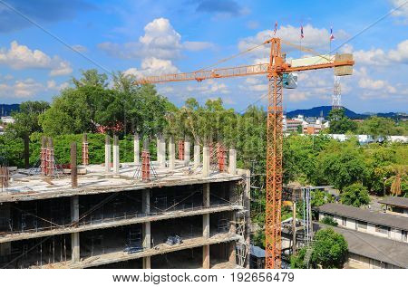work construction and crane scaffold in site workplace building