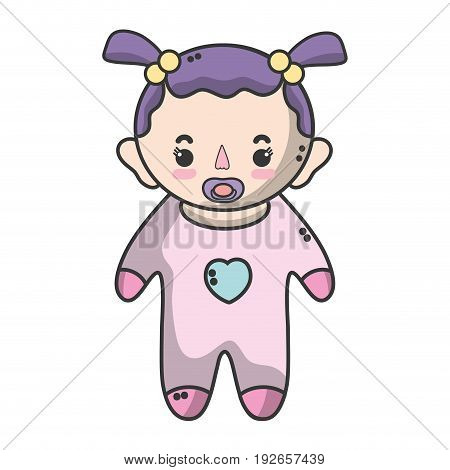 baby girl with pacifier and hairstyle vector illustration