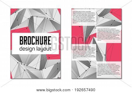 Brochure template flyer. Abstract vector layout background. Art design list, front page. Creative cover for business trend A4 mockup. Lowpoly mesh minimal style art illustration on back.
