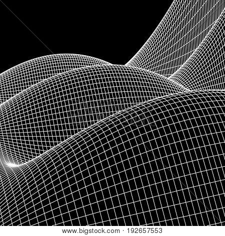 Wireframe landscape vector background. Cyberspace grid technology illustration on black