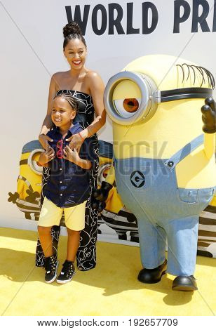 Tia Mowry at the World premiere of 'Despicable Me 3' held at the Shrine Auditorium in Los Angeles, USA on June 24, 2017.