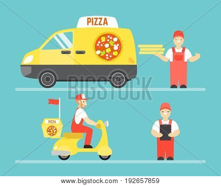 Food delivery service vector concept. Pizza delivery by car and motorbike. Man holding pizza.