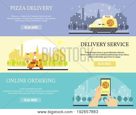 Food delivery vector banners. Order pizza online on internet using smartphone. Pizza delivery by car and motorbike.