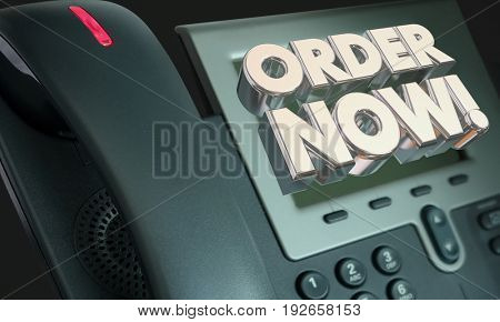 Order Now Telephone Buy Sell Customer Service 3d Illustration
