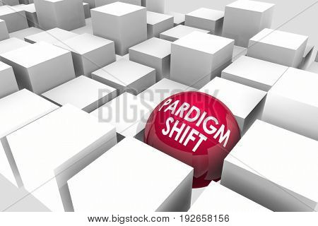 Paradigm Shift Major Change Disruption Cubes Sphere 3d Illustration