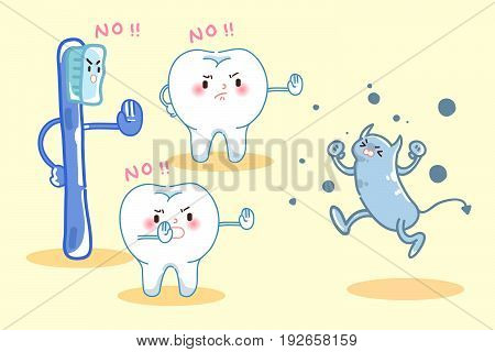 cute cartoon tooth and brush refuse bacteria