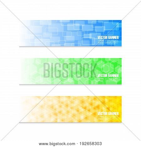 set of geometric colorful banner isolated on white background